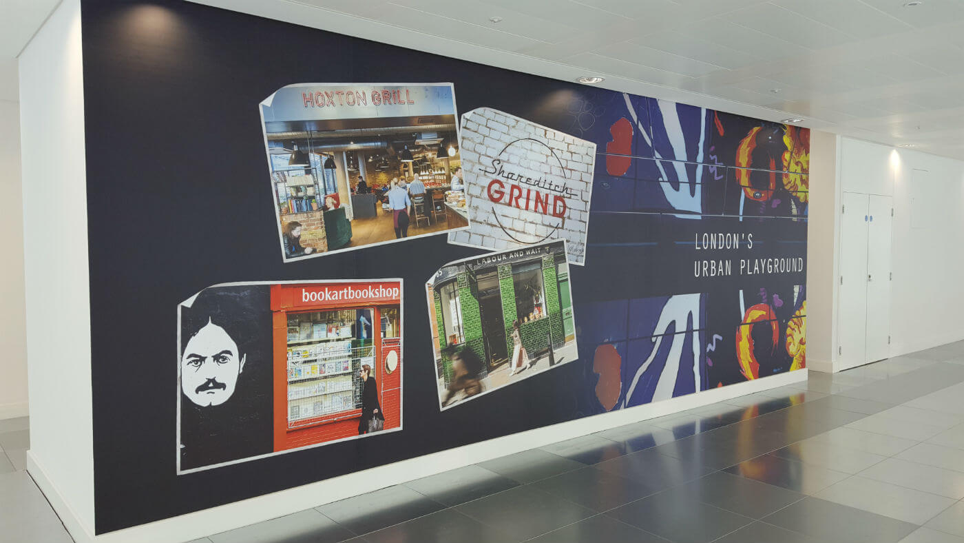 More than 230 metres of digital wall vinyl was printed, turned around and fitted within two working days!
