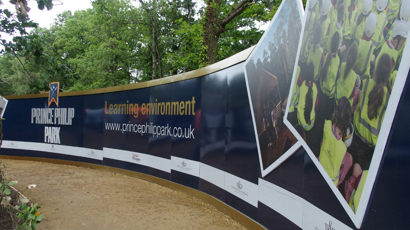 standard ACM hoarding with 19 mm Foamex printed logos and pictures
