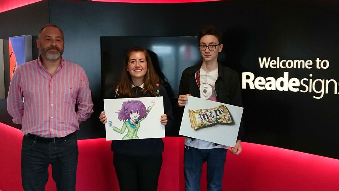 Art competition winners visit Reade Signs